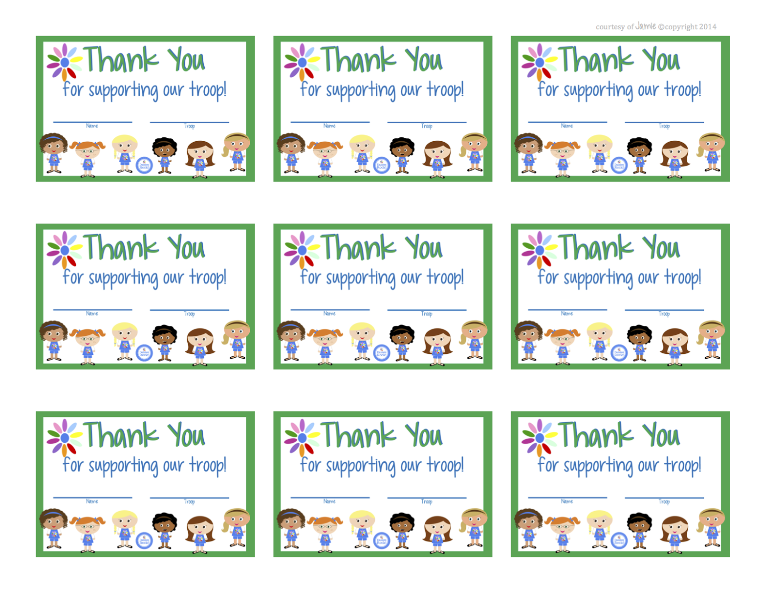 graphic relating to Girl Scout Cookie Thank You Note Printable named My Present day Patterns: Female Scouts - Daisies Thank Your self Playing cards