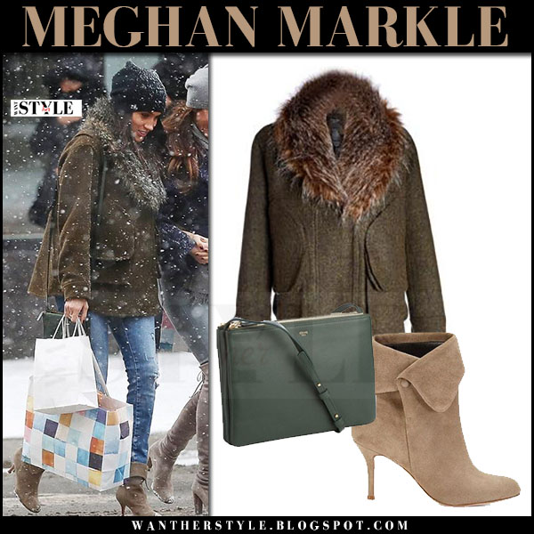 Meghan Markle in green wool jacket with fur collar jacket and suede boots sarah flint what she wore