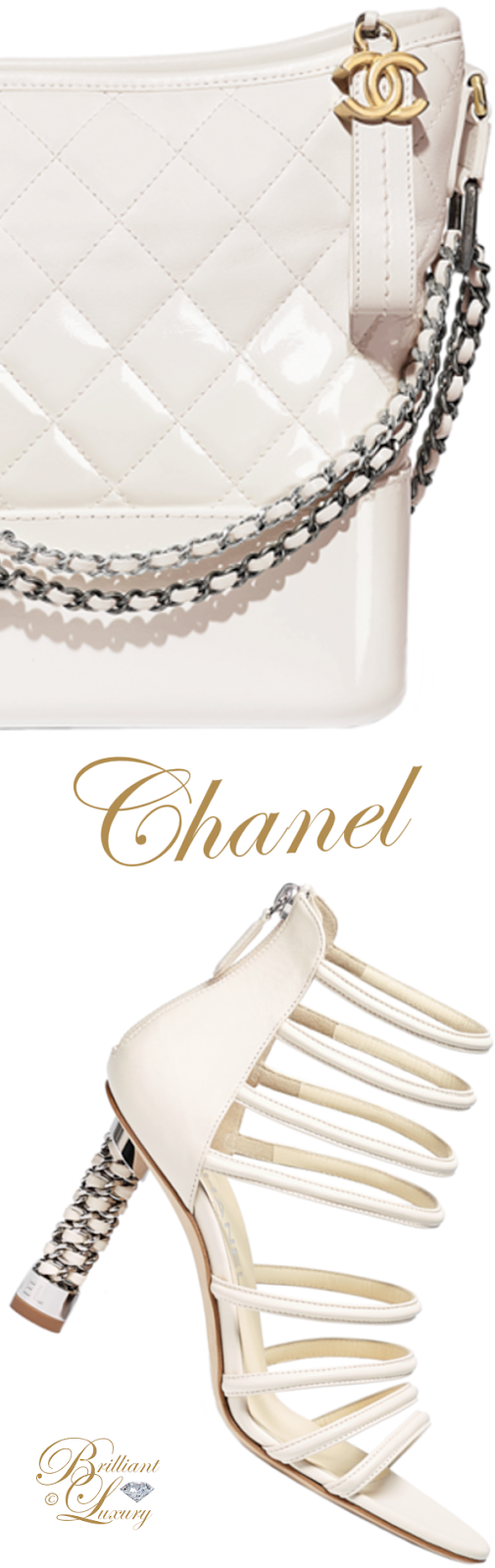Brilliant Luxury ♦ Chanel white Gabrielle hobo bag and Chanel white sandals with crystal heel