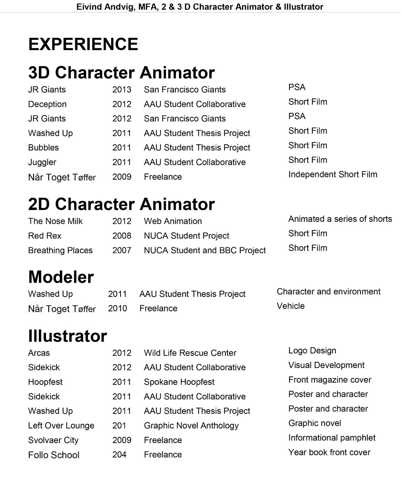 Animation Resume Samples VisualCV Resume Samples Database
