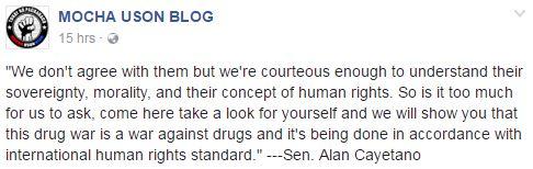Mocha Uson Blog Supports Senator Cayetano's Stand Against Abortion