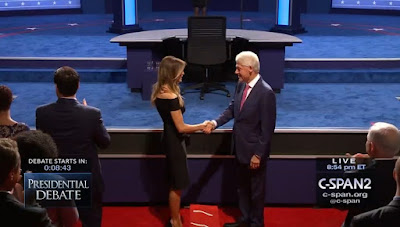 Bill Clinton and Melania Trump handshake