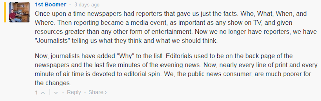 Journalism had 4 W's, and was ruined with Why. Editorials