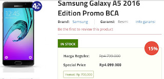 Samsung Galaxy A5 2016 Promo BCA Rp 4.099.000