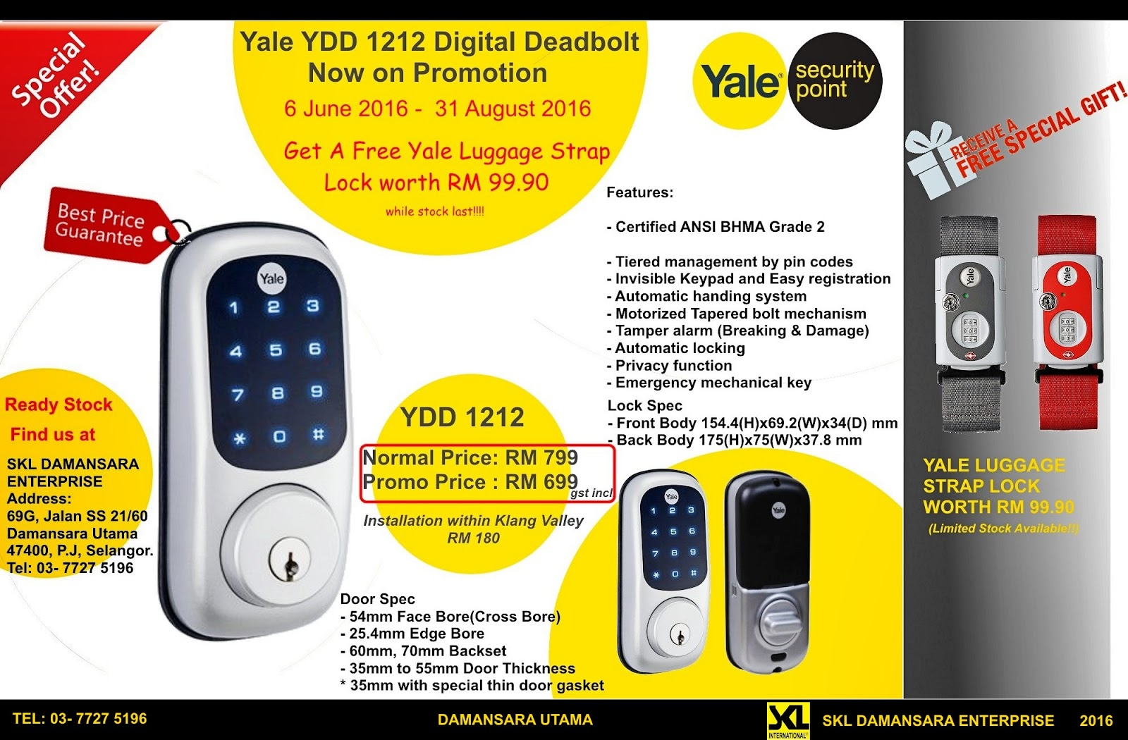 Yale Digital Door Lock YDD1212 Promotion now at RM 699
