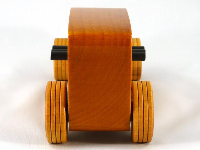 Rear - Wooden Toy Car - Hot Rod Freaky Ford - 32 Sedan - Pine - Amber Shellac - Black Pipes - Metallic Blue Hubs