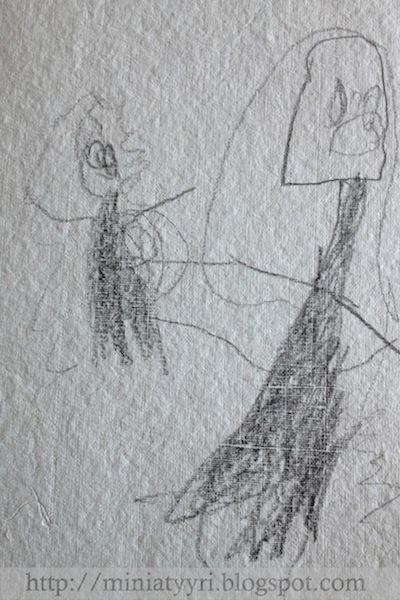 Äidin ja lapsen muotokuva, lapsen piirtämänä - Portrait of mother and child, drawn by a 4-year-old child