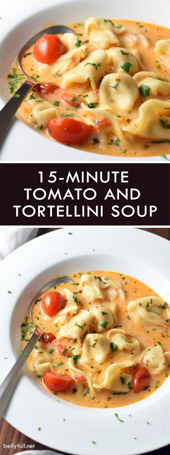 Super easy Tomato Tortellini Soup that's ready in only 15 minutes! Such a lifesaver during those busy weeknights and holiday time!