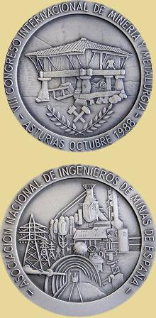 Medalla del VIII Congreso Internacional de minería en Oviedo, 1988