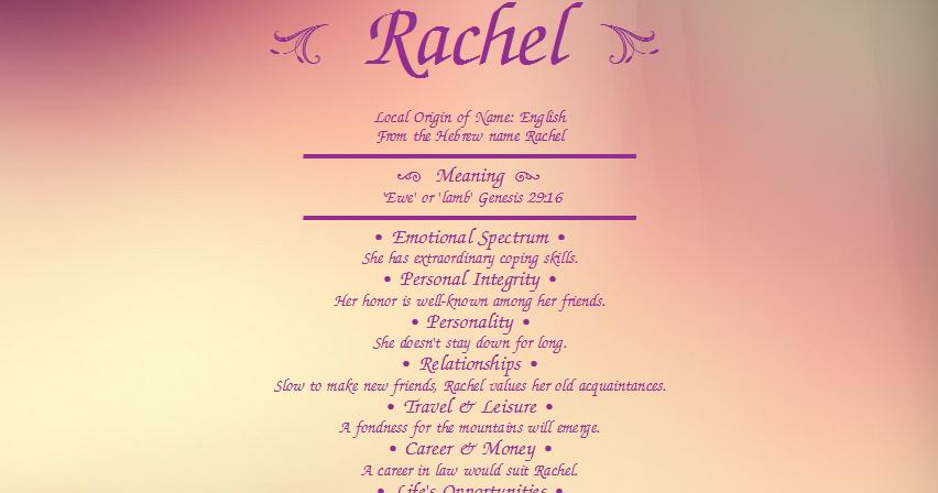 50 MEANING OF RACHEL, OF MEANING RACHEL