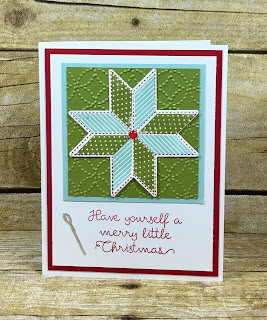 This quilt themed Christmas card uses Stampin' Up!'s Christmas Quilt stamp set and Quilt Builder Framelits (bundle!).  We also used Silver Foil Paper, the Quilt Top embossing folder, and the White Perfect Accents colored with a red permanent marker.  #stamptherapist #stampinup www.stamptherapist.com