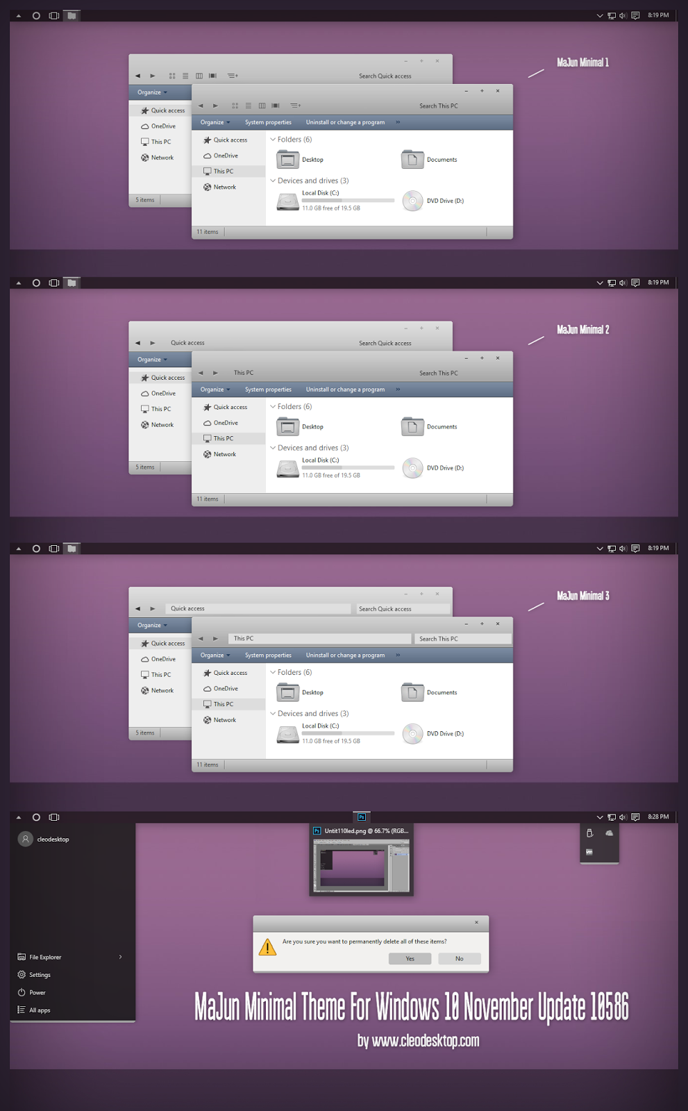 MaJun Minimal Theme For Windows10 November Update 10586