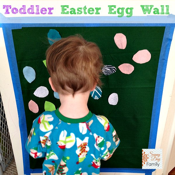Make an Easter Egg Wall activity for toddlers! Fun way to look for Easter eggs inside.