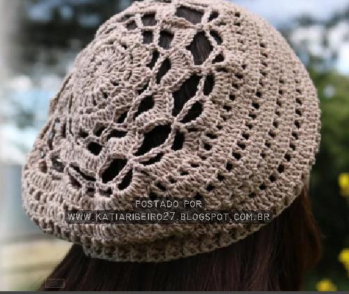 801b88261375e Boina em crochê com gráfico e vídeo aula - Katia Ribeiro Crochê Moda ...