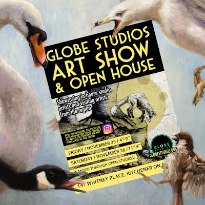 A collage of Angry BIrds, and oil painting © Shannon Reynolds and the Globe Studios Art Show postcard