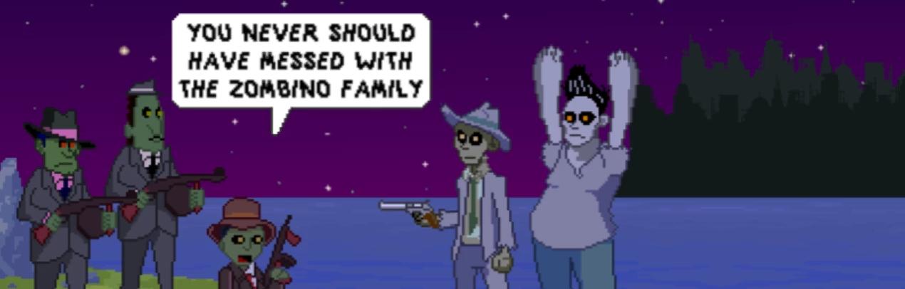 Un familia mafiosa de zombis apuntan con sus metralletas a un detective, que sostiene un revólver, y a su compañero.
