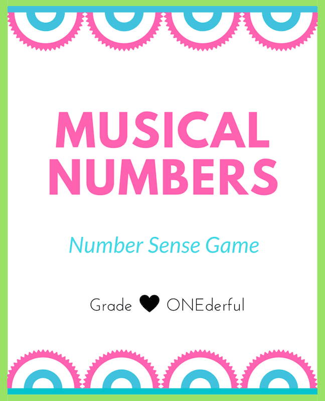 Musical Numbers Game for first graders. Freebie by GradeONEderful.com