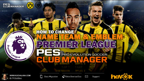 PES Club Manager : Premier League Real Club Name And Club Emblem