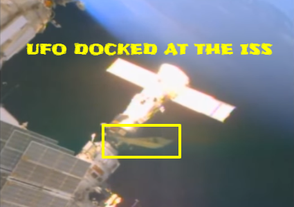 Alien spaceship seen on live NASA TV docked with the ISS.