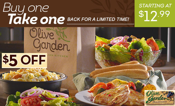 Coupons And Freebies Olive Garden Takeout Deal 5 Off
