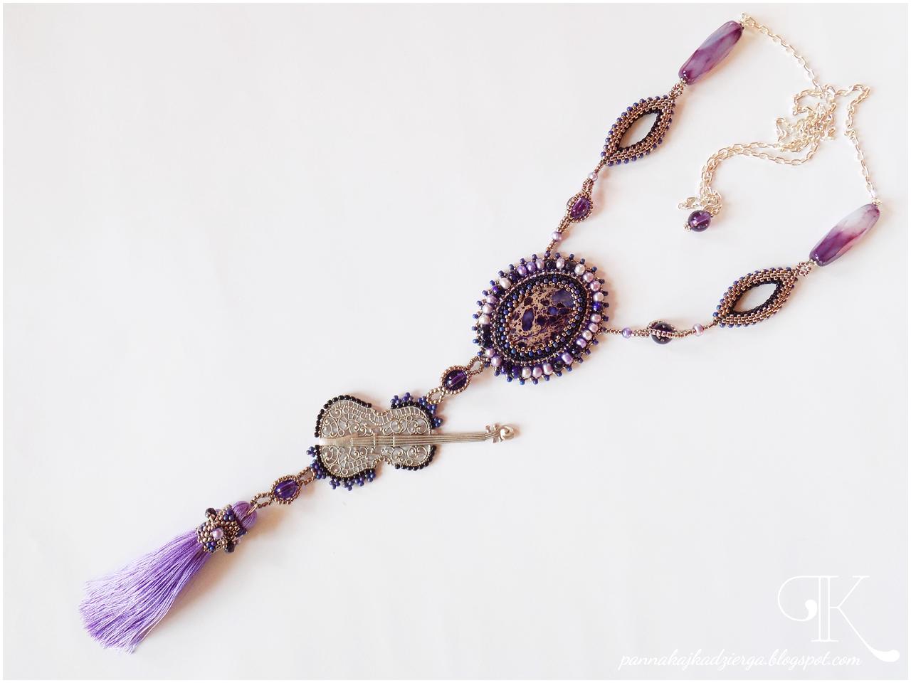 koraliki, perły, wisior, beading, brich stitch, agat, kwarc, jaspis, kaboszon, taśma cyrkoniowa, biżuteria, handmade, rękodzieło,