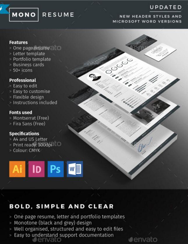 20 Resume CV Templates in Indesign Word PSD Download - Designsmag.org