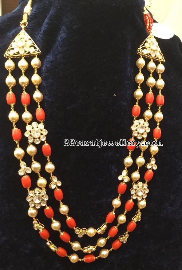 Three Rows Coral Beads Set with Polki