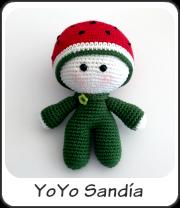 muñeco yoyo sandía amigurumi