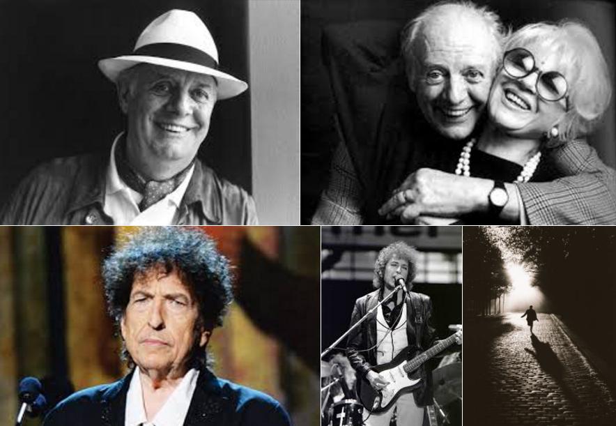 Poetico passaggio di consegne dal giullare Dario Fo al menestrello Bob Dylan, entrambi premi Nobel per la Letteratura.