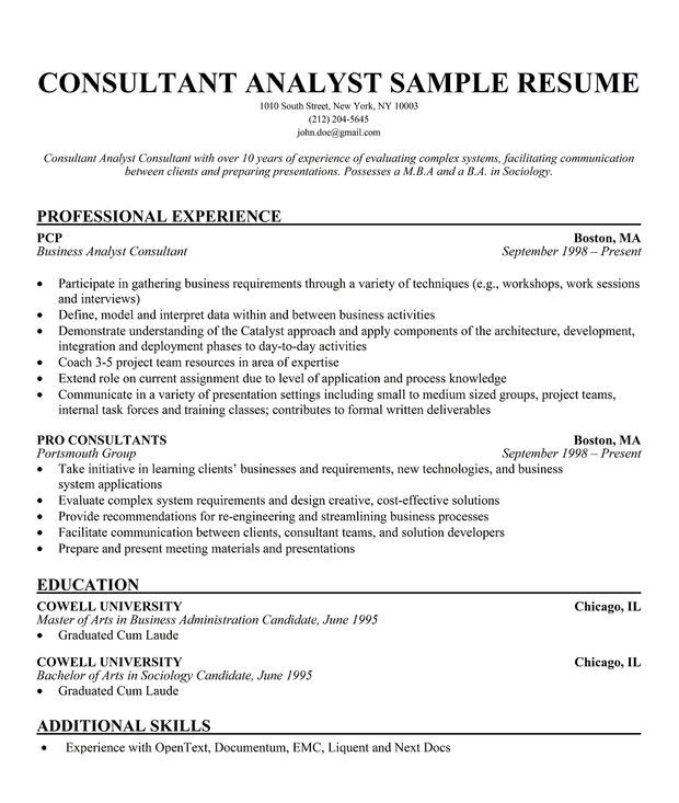 consultant resume example - Business Consultant Resume Sample