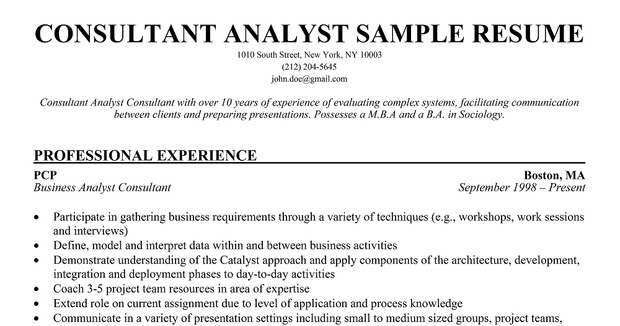 business analysis consultant resumes - Alannoscrapleftbehind