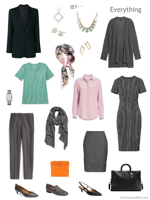 Tote Bag Travel capsule wardrobe in black and grey with pastels
