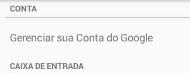 Gerenciar configuração da conta Google no aplicativo