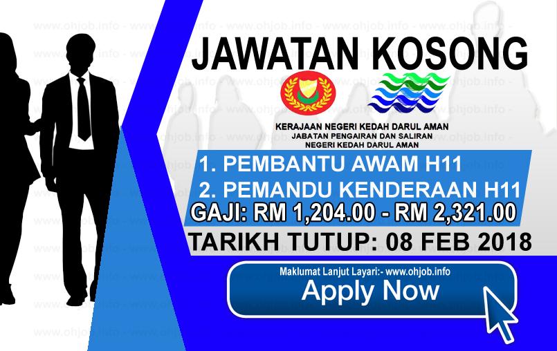 Jawatan Kerja Kosong Jabatan Pengairan dan Saliran Negeri Kedah logo www.ohjob.info februari 2018
