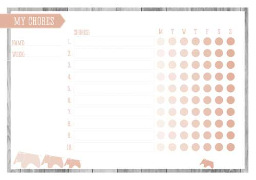 Free Printable Kid's Chore Chart - Peach