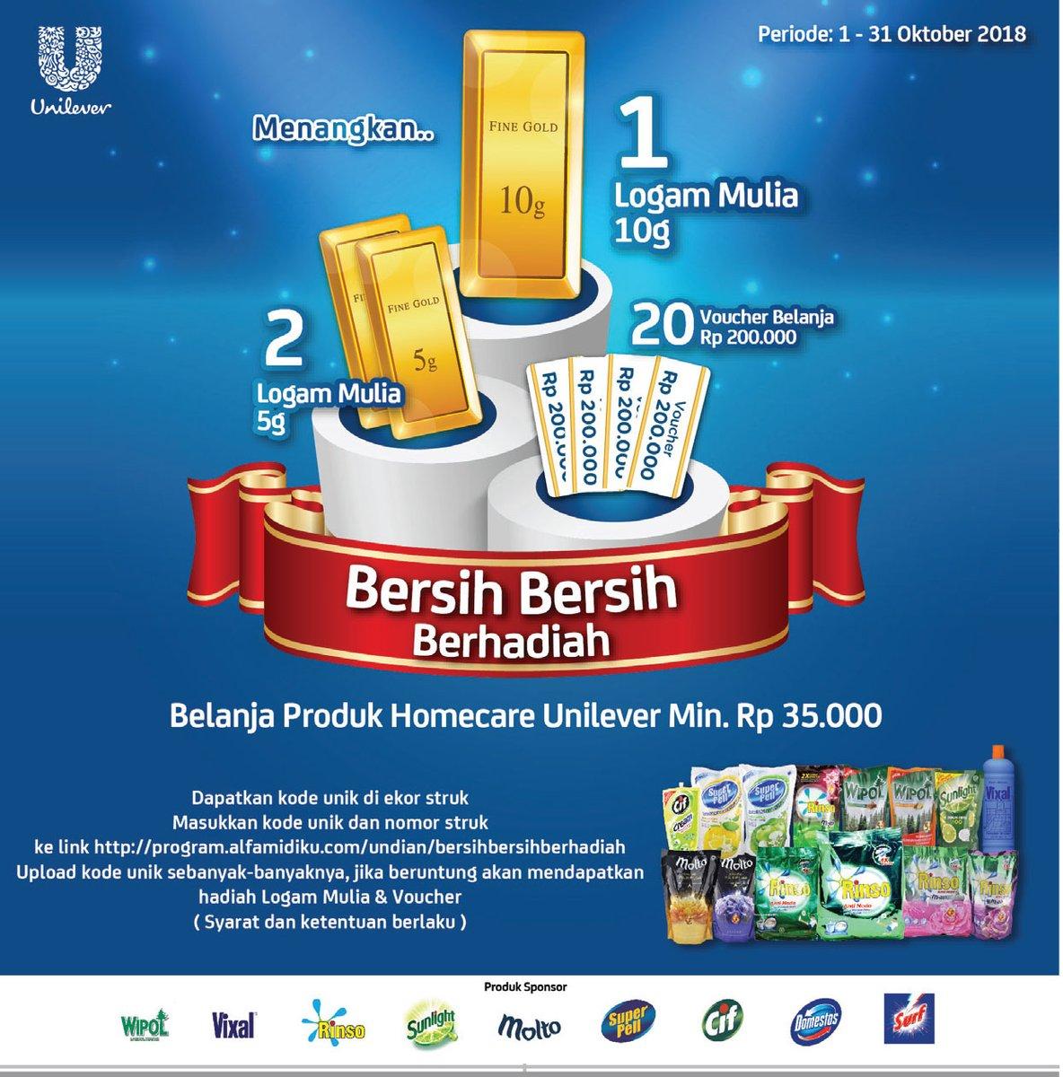 Alfamidi - Promo Undian Unilever Min 35 Ribu Dapat Hadiah 10 gr Emas (s.d 31 Okt 2018)