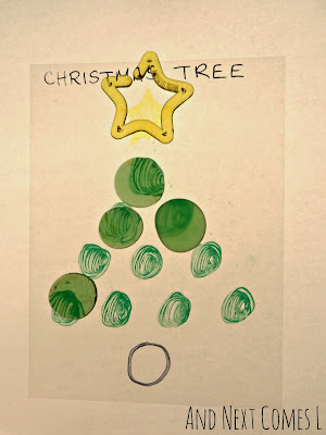 Making Christmas trees on the light table from And Next Comes L