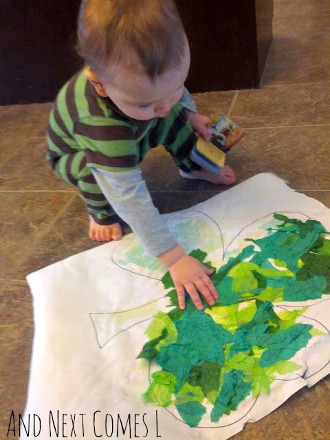 Shamrock bleeding tissue paper art for toddlers and preschoolers