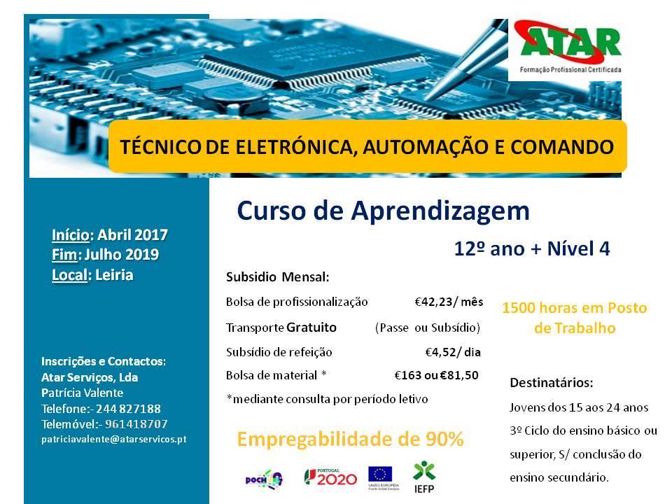 Curso de aprendizagem remunerado (Técnico de Eletrónica, Automação e Comando) – Leiria (2017 a 2019)