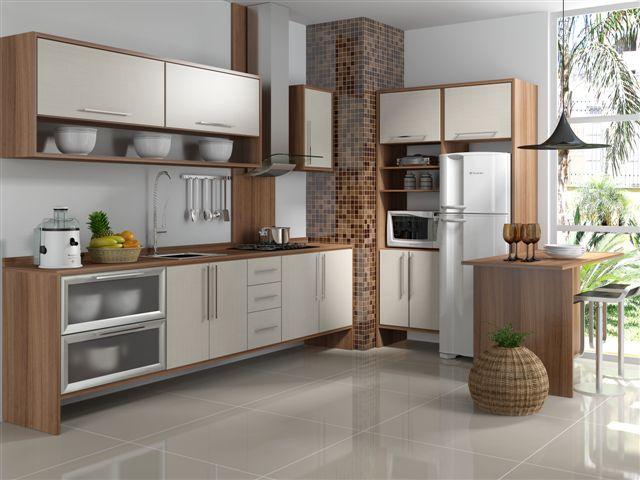 27- Cozinha bege e amadeirada em MDF! Detalhe das portas em vidro e da