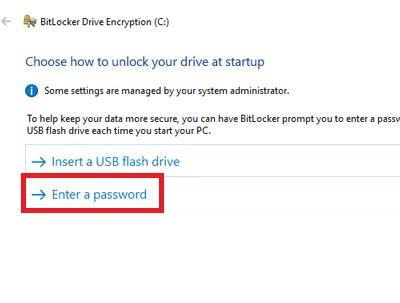 Select password method Bitlocker