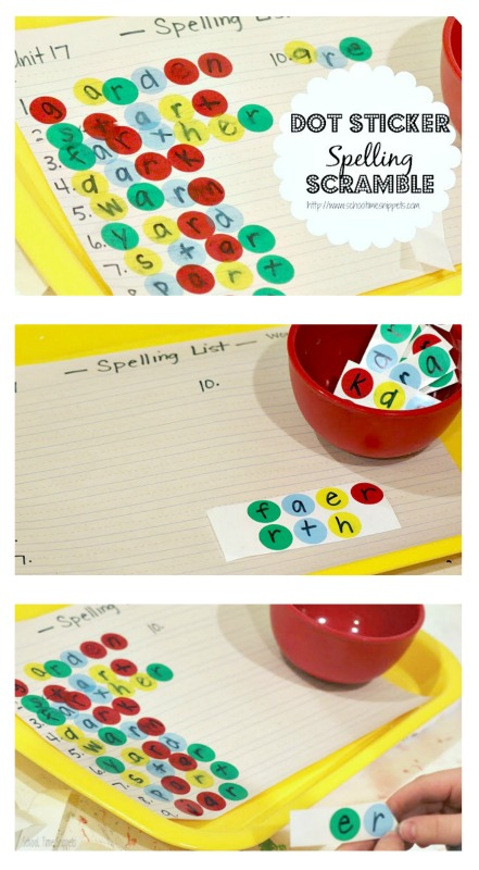spelling activity for kids using stickers