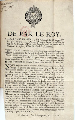 Ordonnance Royale en Auvergne pour Faussaunage en 1705
