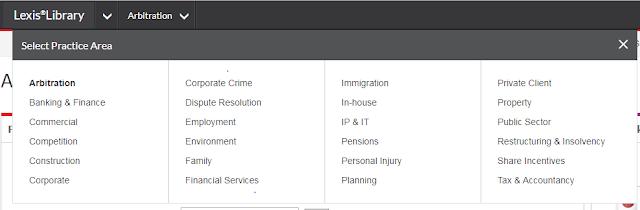Screen shot of drop down menu for Lexis practice areas