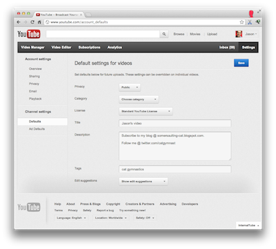YouTube Creator Blog: Save time uploading with Default Settings