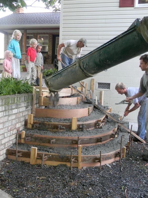 Home Joys Finished Project Stamped Concrete Steps | Half Moon Wood Steps | Wooden | Hexagon | Diy | Outside Corner Deck | Exterior