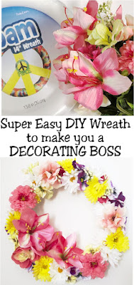 Decorate your home like a Mom Boss with this simple DIY spring floral wreath for Mother's day. You'll have your home looking beautiful enough to scare off the doldrums of winter once and for all. #springwreathdiy #mothersdaydecorations #everydaypartiesblog