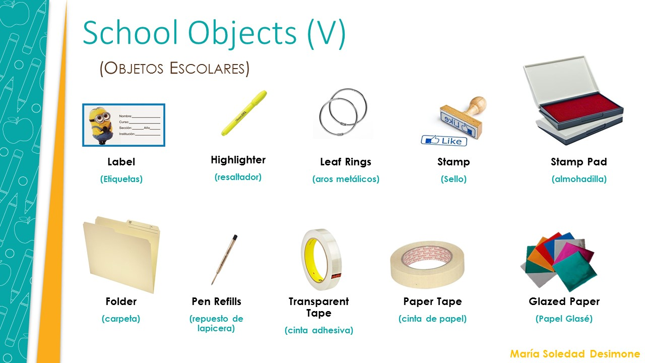 Objectsobjetos Escolares Cultura Y TicInglésVocabularySchool UzVMSp