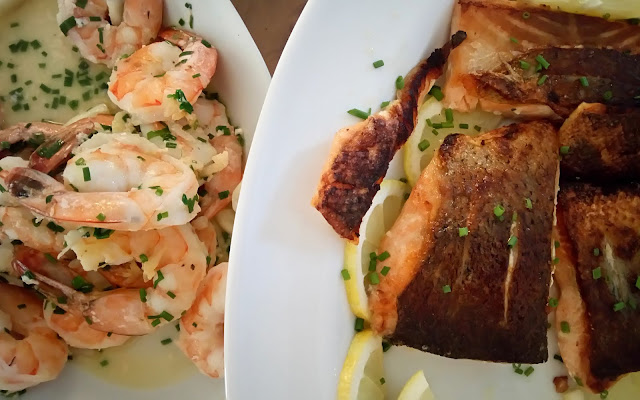 yummy seafood dinner with shrimp and salmon