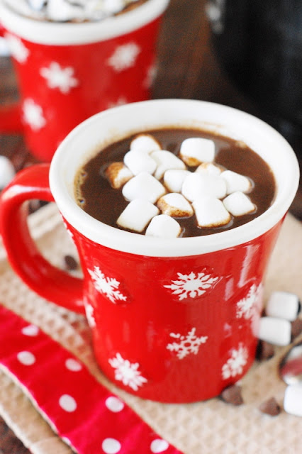Whether you whip it up on the stove top or in the slow cooker, this combination of chocolate, milk, and 1/2-&-1/2 makes the BEST Hot Chocolate ... tried, taste-tested and family approved.